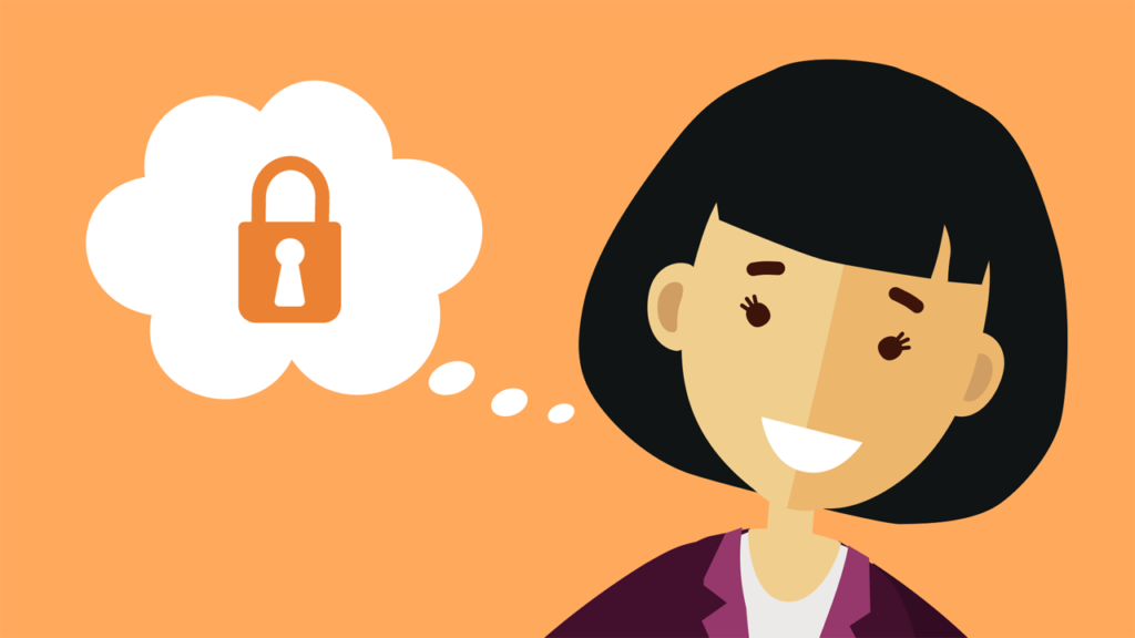 2D illustration of female character with lock icon in thought bubble