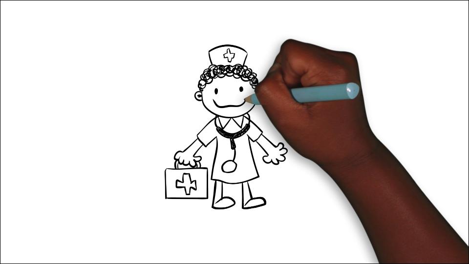 black children's hand drawing a nurse