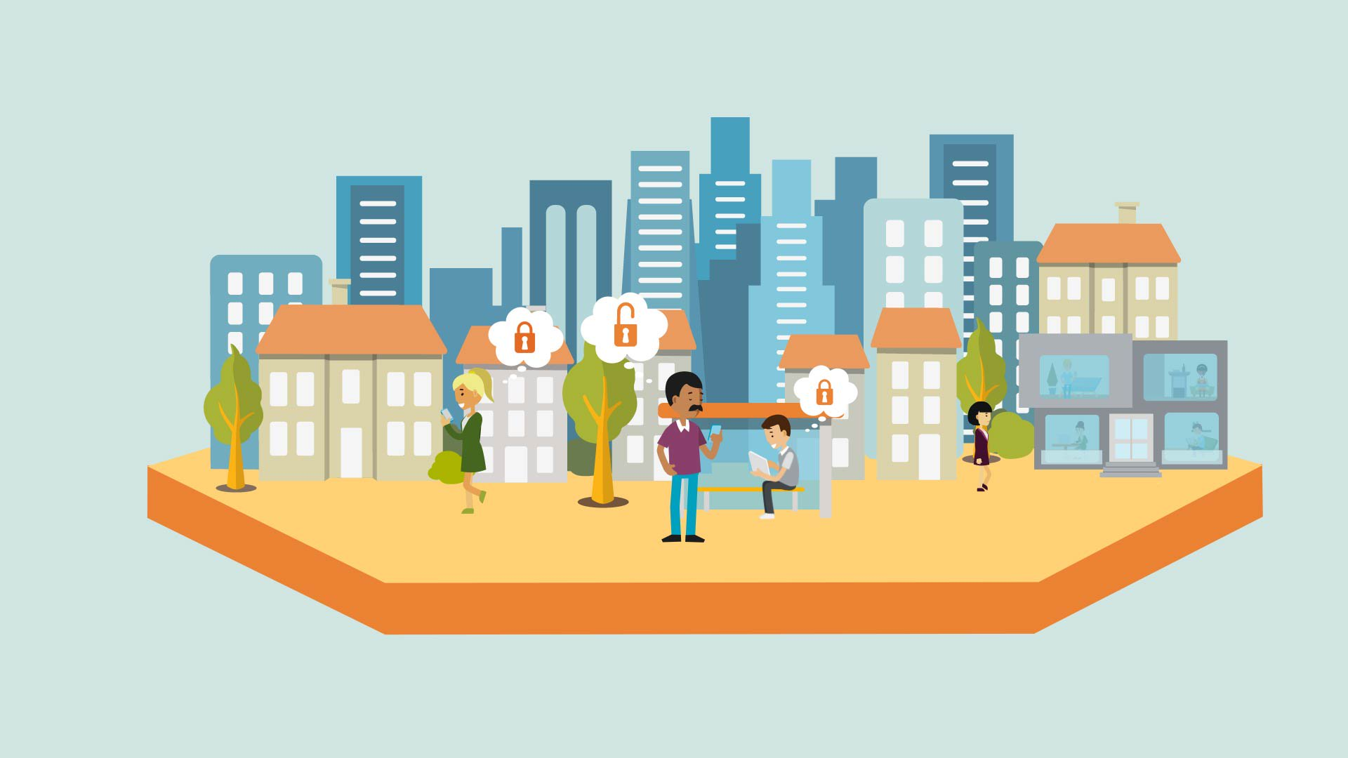 2D illustration of urban characters in city environment walking and waiting for a bus