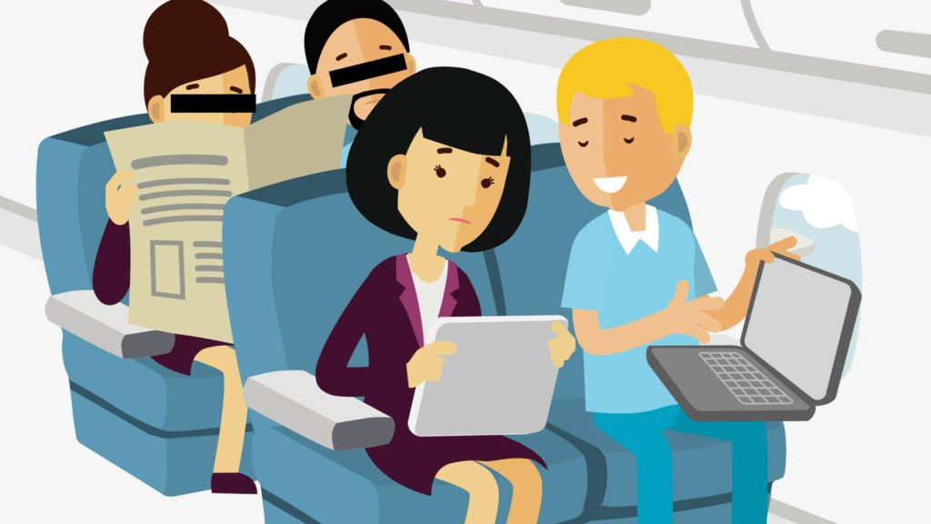 characters on a plane discussing business issues with open laptop and tablet with spies reading the newspaper sitting just behind them