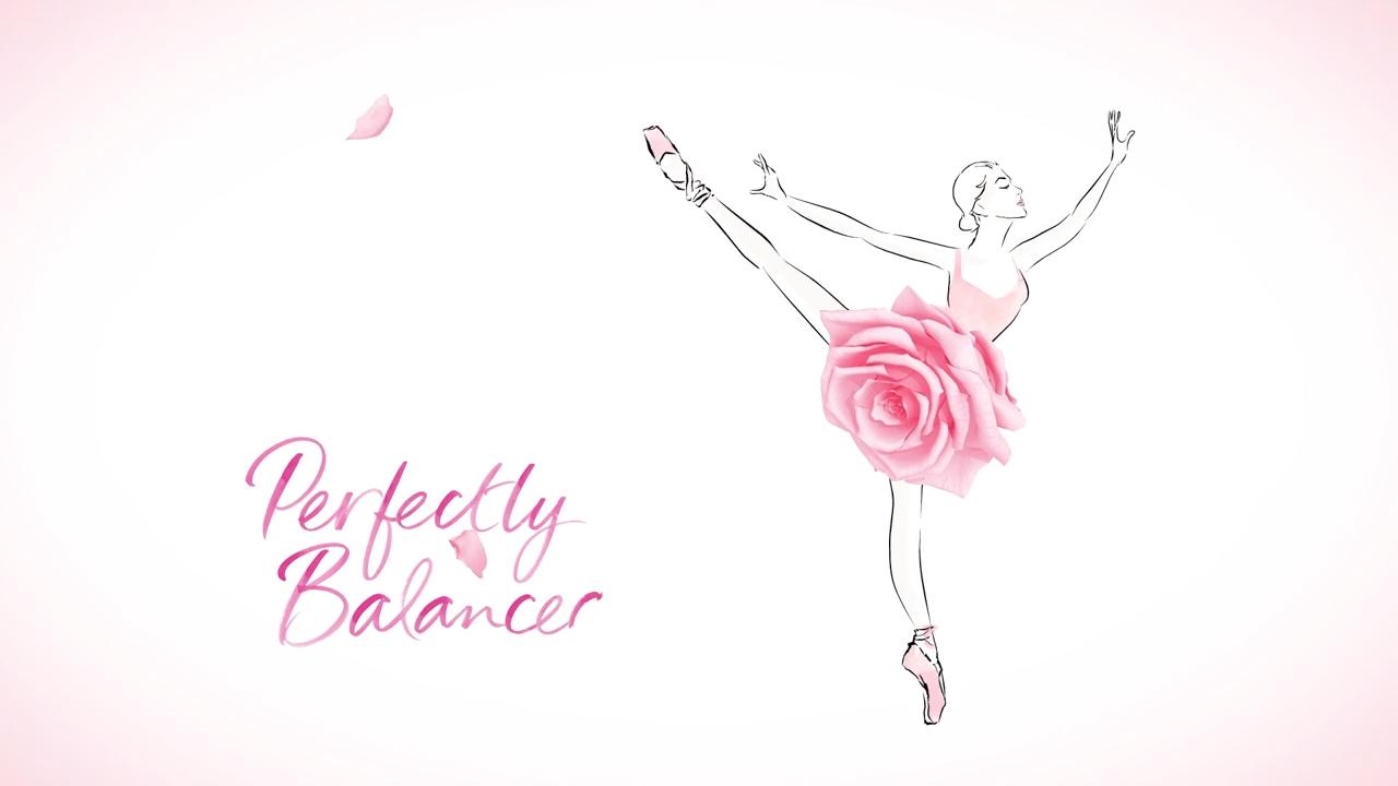 Illustration of ballet dancer with rose blossom for a skirt
