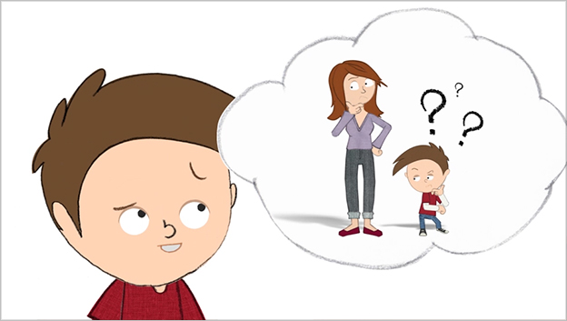 animated character looking up at speech bubble with him and his mum