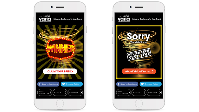 2 phones with varia looser and winner screens open both showing a vortex in the background