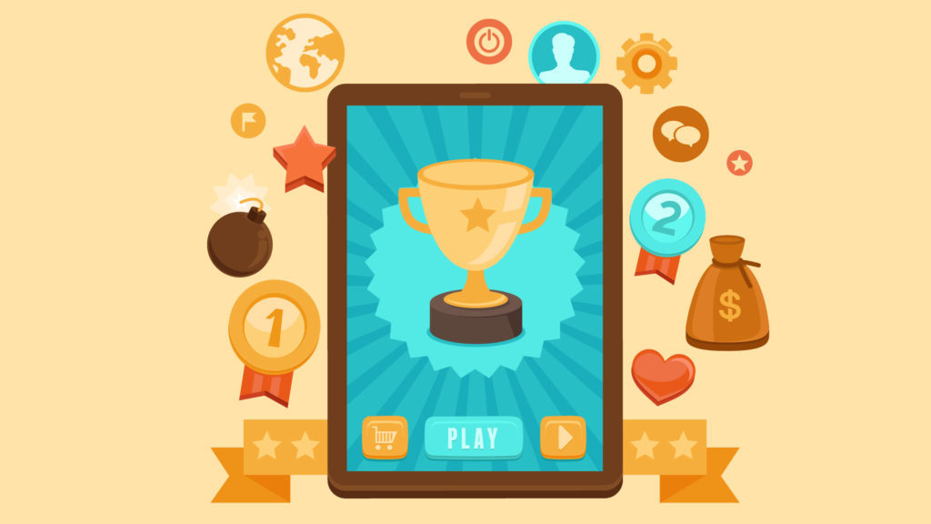 Using Gamification In The Workplace For Employees, 2D illustration of trophy on an tablet device, surrounded by various icons like a star ribbon, money bag, rosettes, stars, heart, globe, bomb