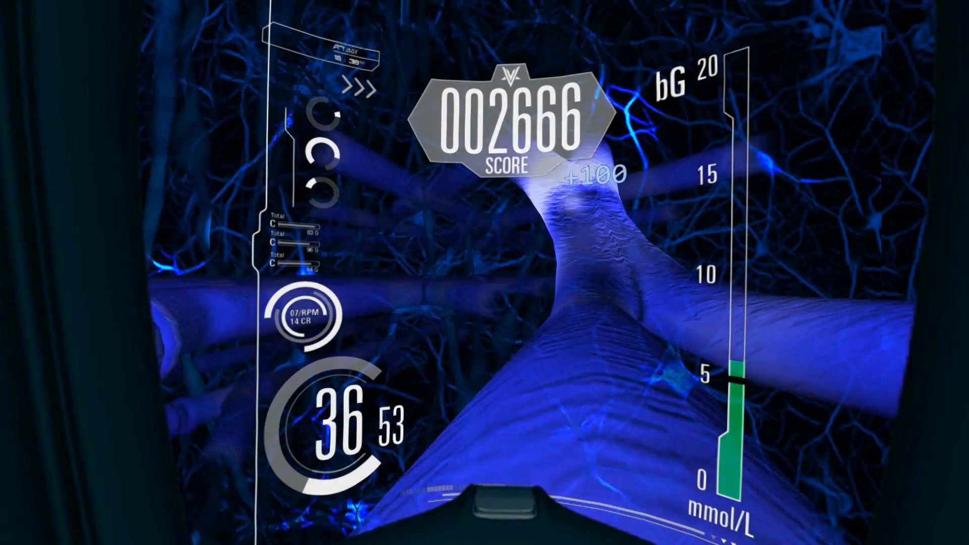 Diabetes Voyager VR Game, blue Brain Synapses scene with graphic overlay and game score display