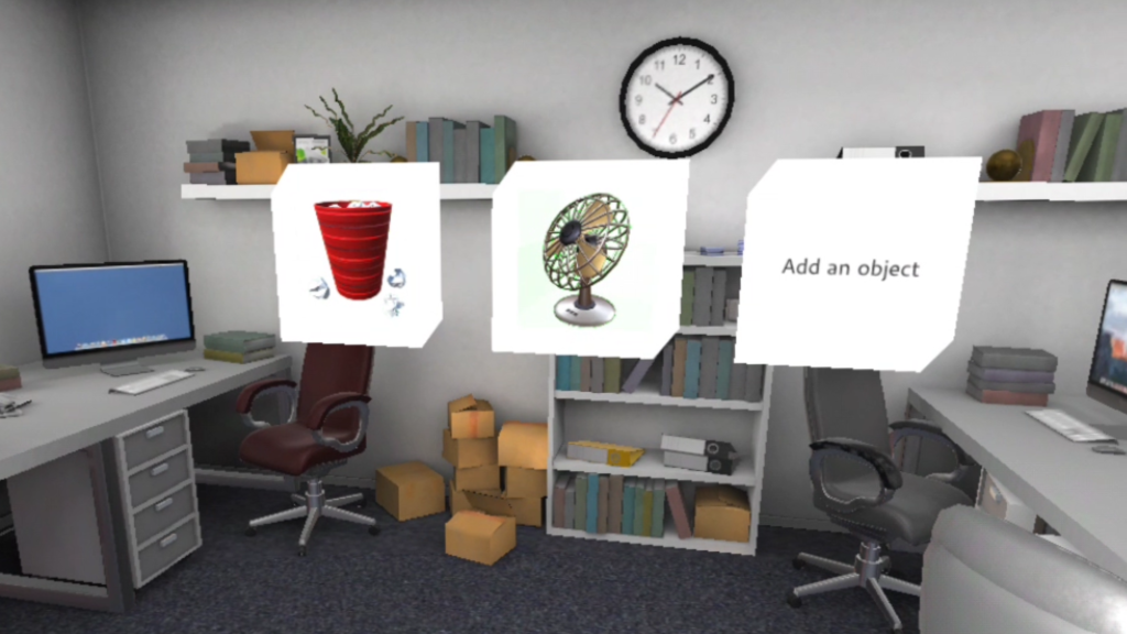 VR fire saftey training, office scene with boxes. paper, interface showing box with bin filled with paper, a fan and an 'add an object' box