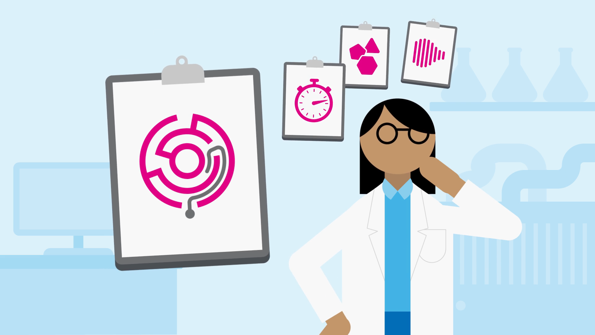 medical animation explainer 2D scientist and icons on clip boards showing a maze, stopwatch, shapes and graph