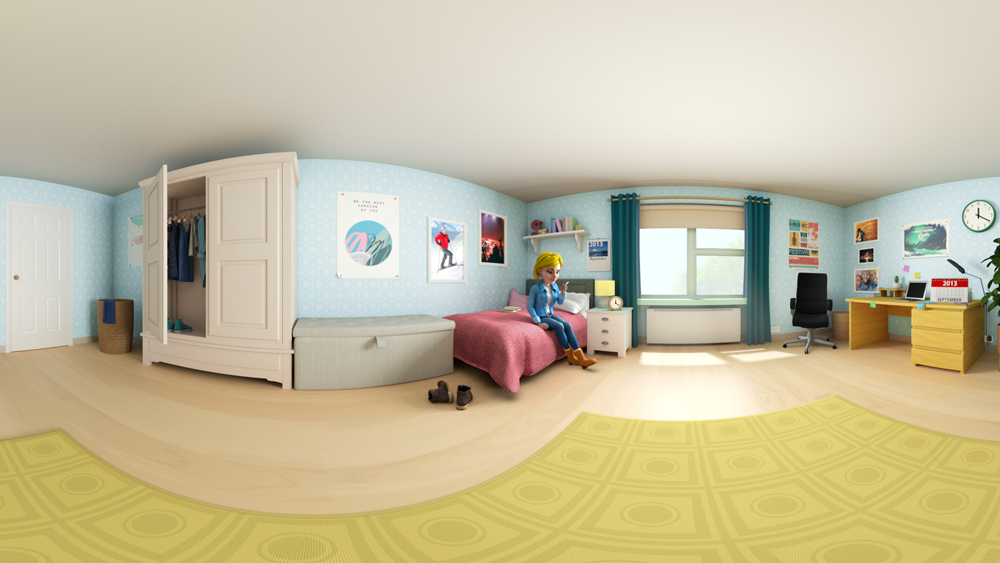 360 VR video sphere of woman's bedroom with 3D character sitting on her bed looking at her phone