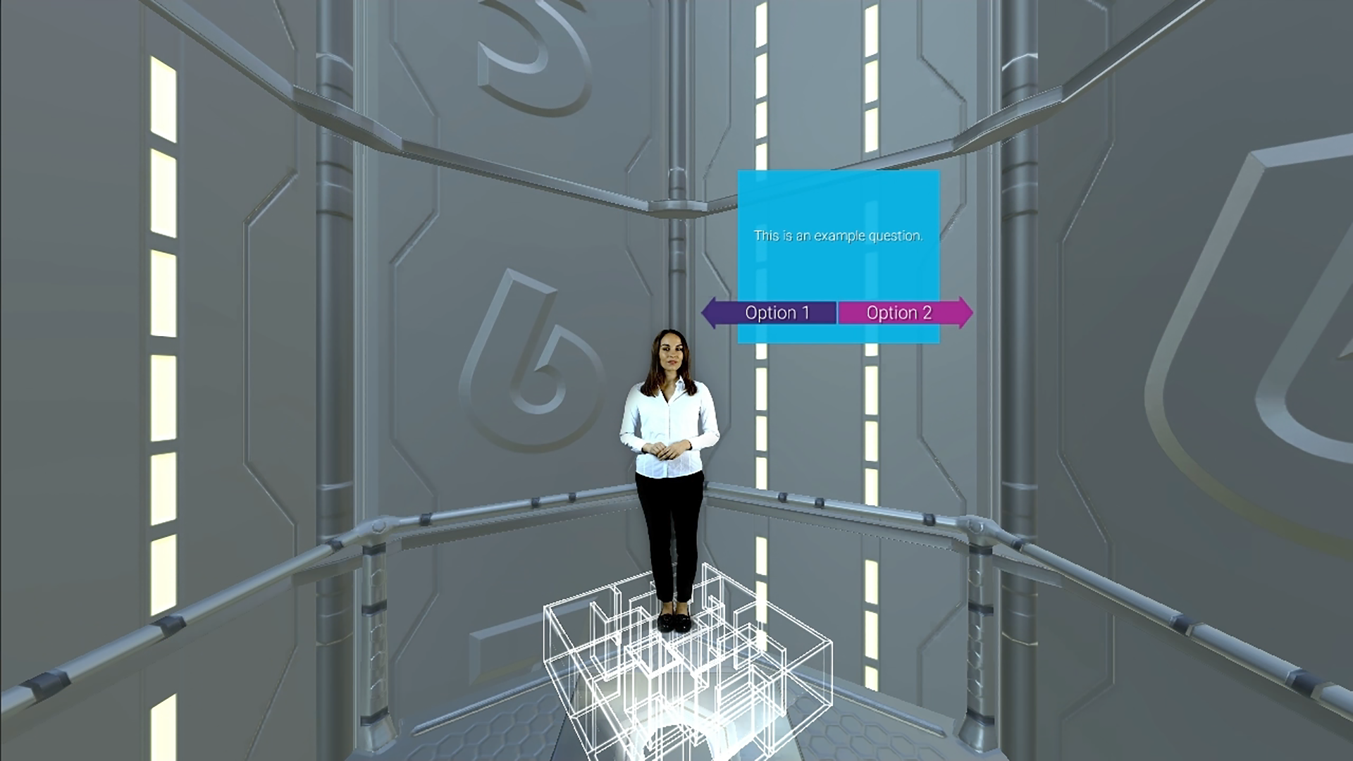 vr_learning_01, office woman standing on a maze with graphic buttons, option 1 and option 2