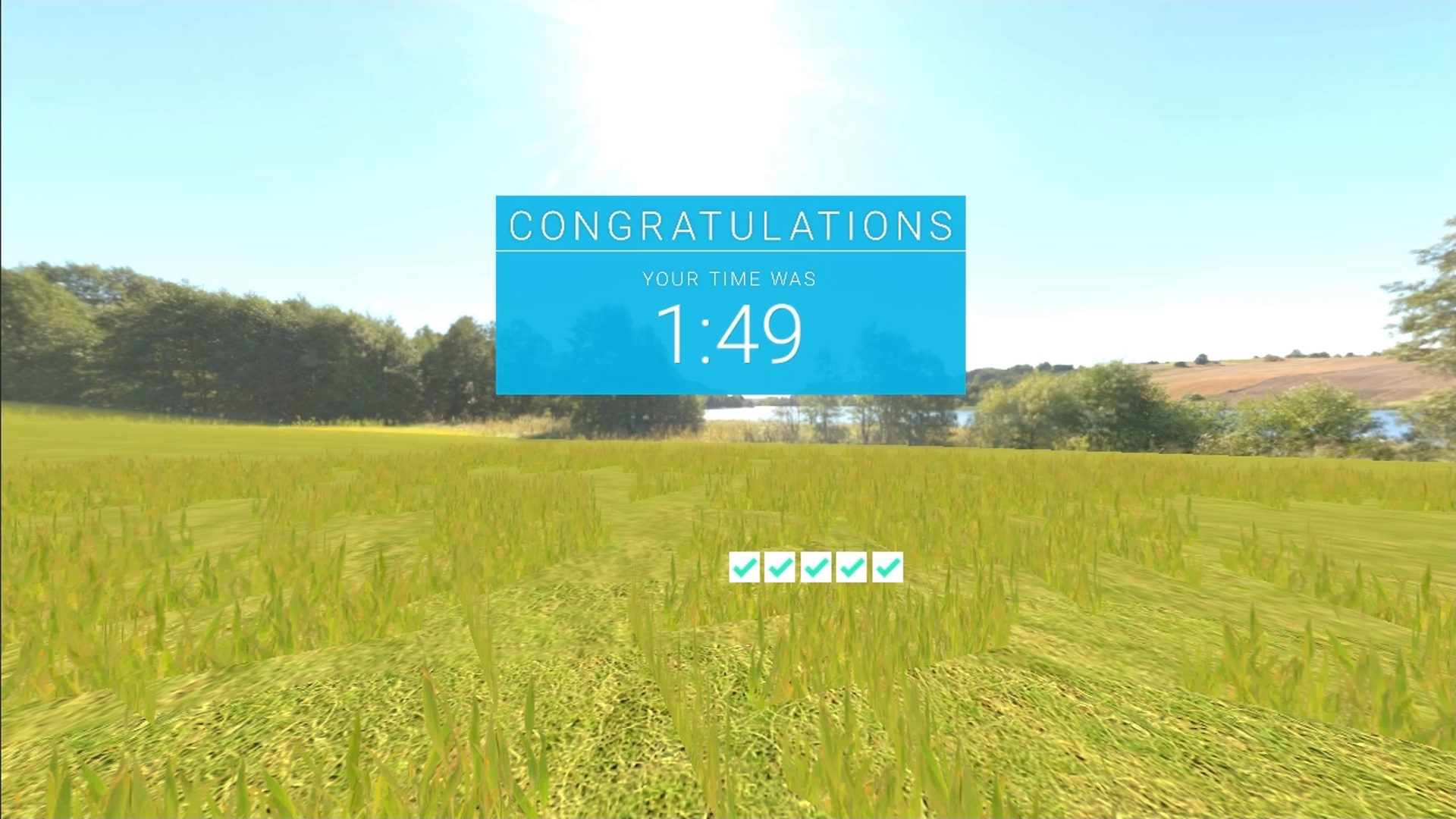 vr_learning_02, landscape with graphic overlay showing time scored and 5 ticked boxes
