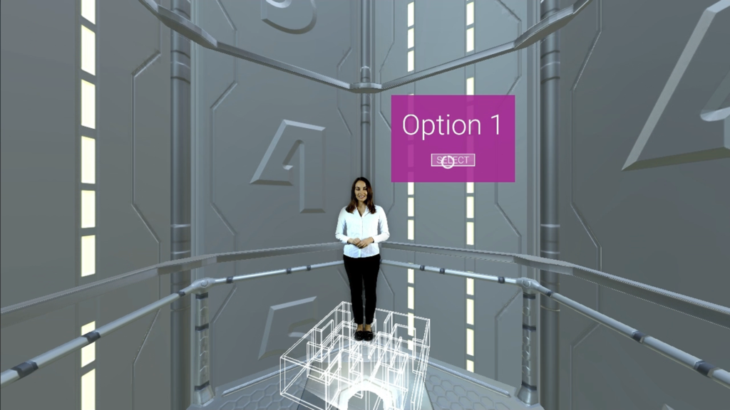 vr_learning_04, woman standing on maze in VR environment with graphic display of option 1 and select button