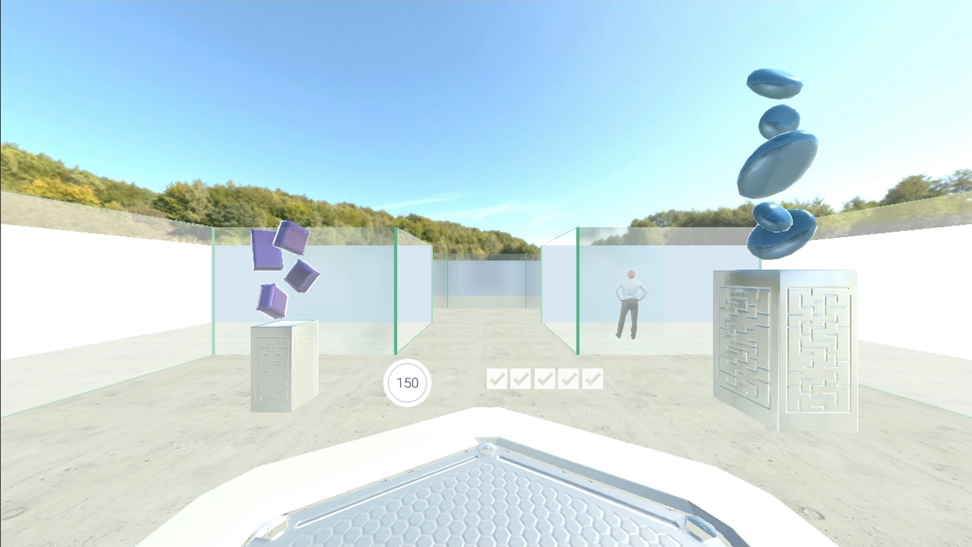 vr_learning_05, VR environment of glass maze with pond and circular and cubical objects floating above 2 plints