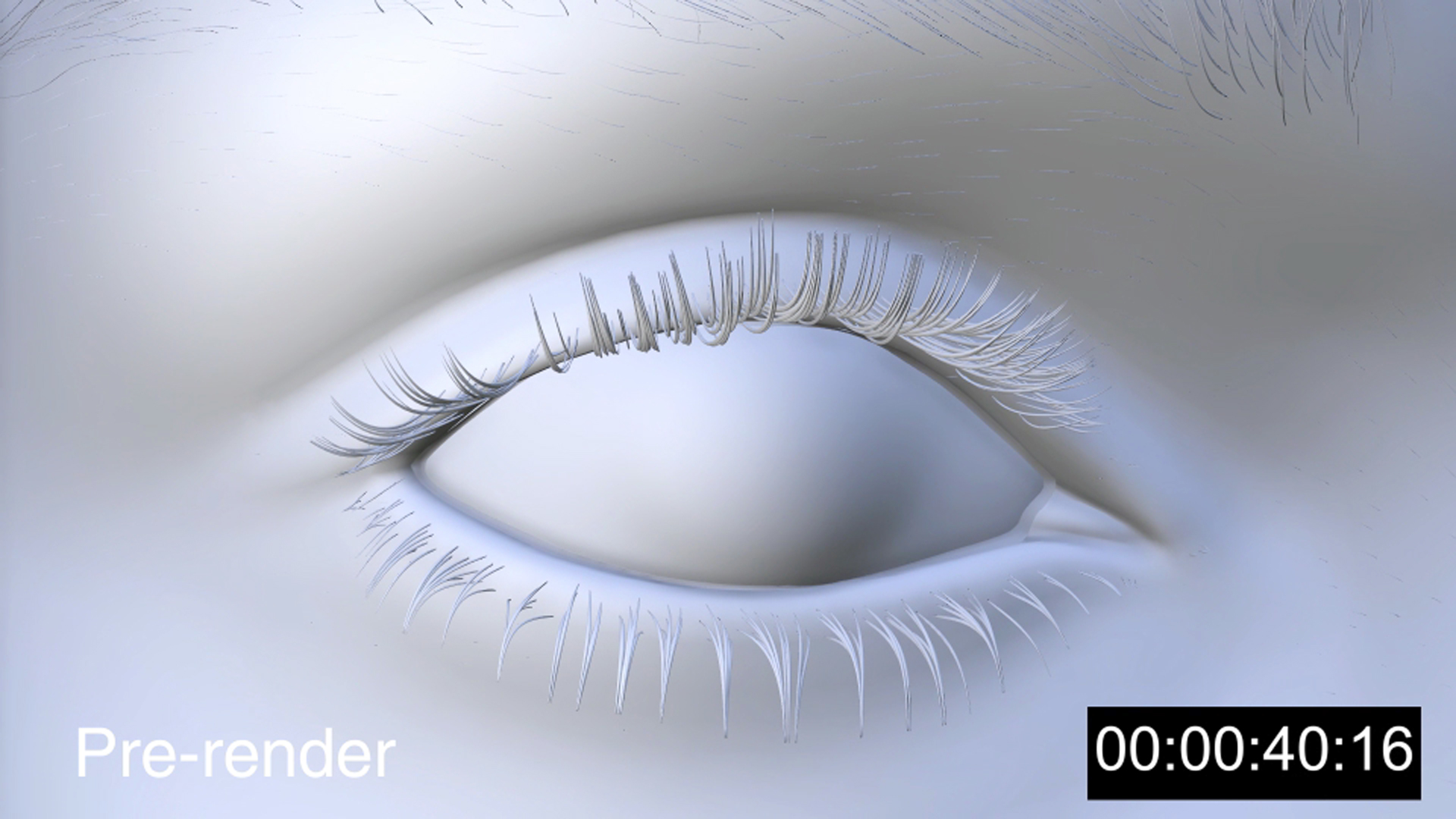 Single frame of a cgi eye pre-rendered frame with time code