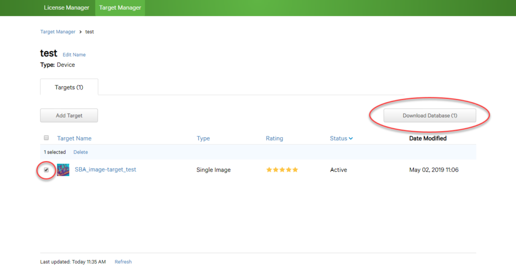 screen grab of target manager screen with download database button circled in red and image selection ticked