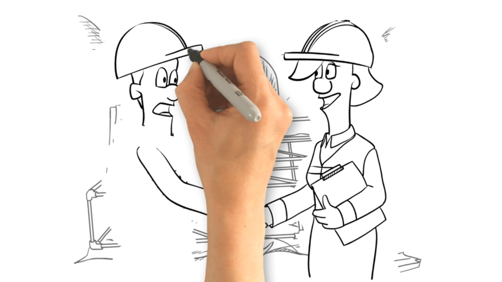 Example Of A Character Whiteboard Animation For Network Rail, construction managers shaking hands at construction site