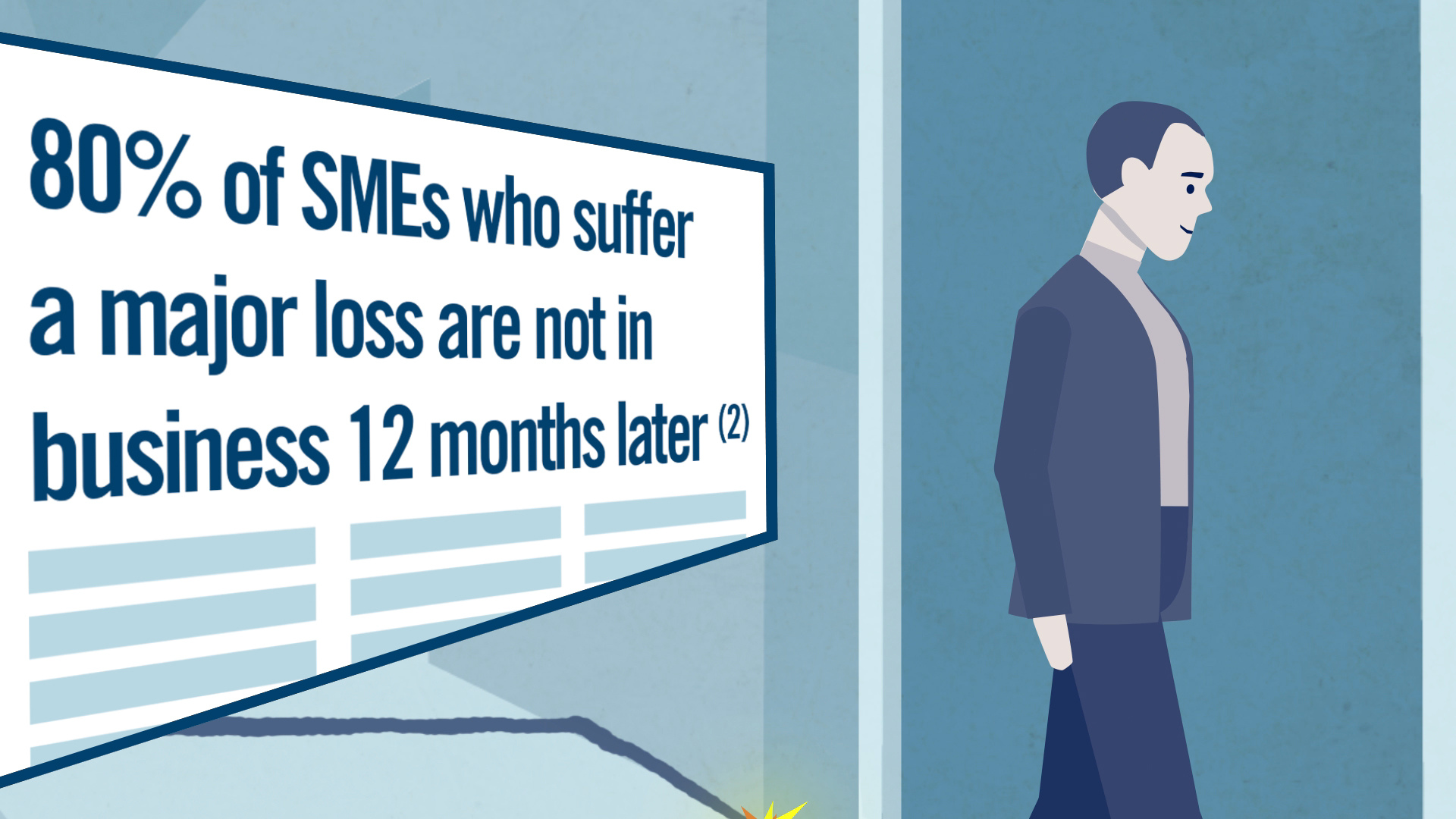 man entering an office building, newspaper article saying: 80% of SMEs who suffer a major loss are not in business 12 months later