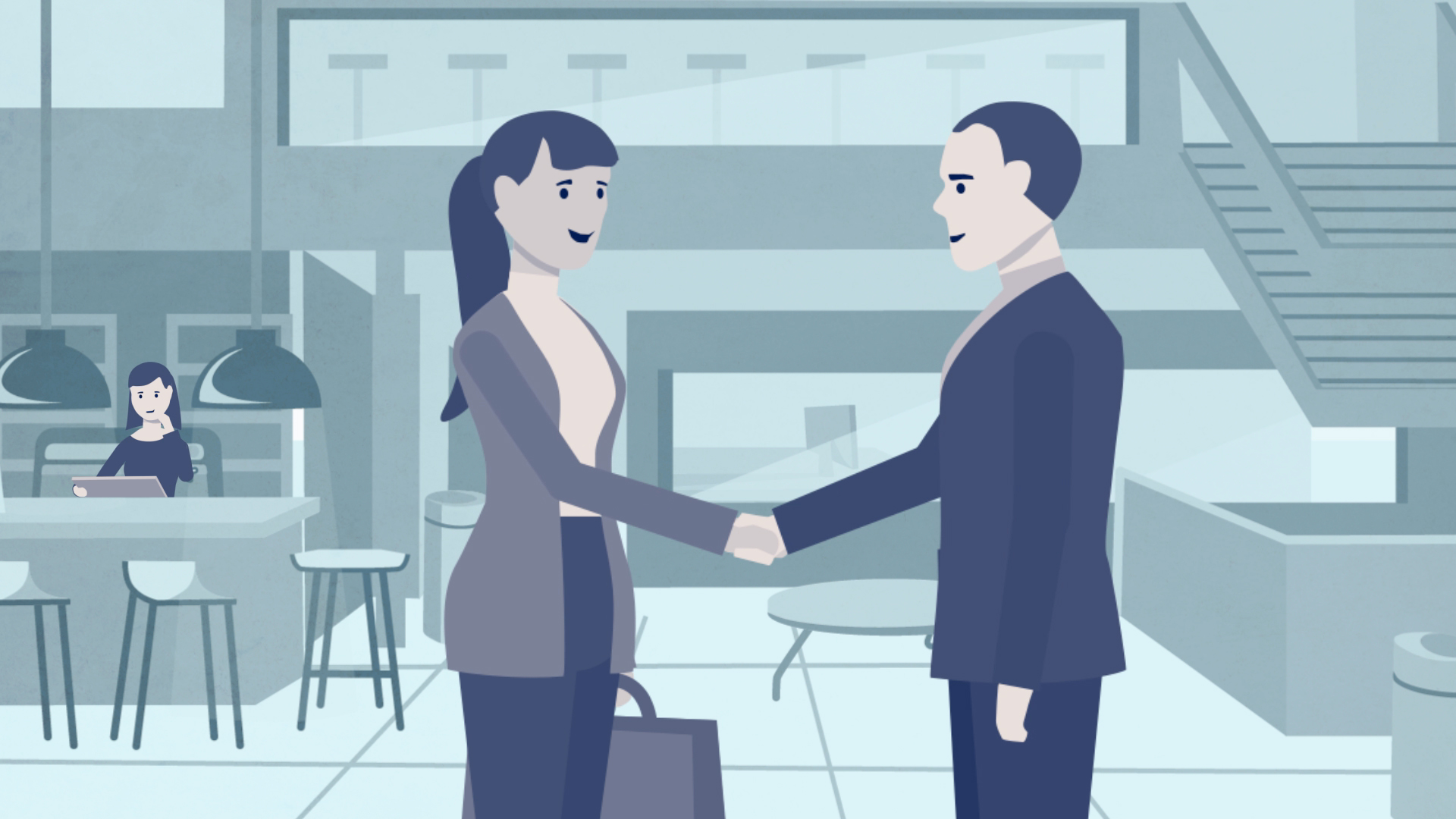 illustration of a man and woman shaking hand in a business building with a cafe and bar area in the background