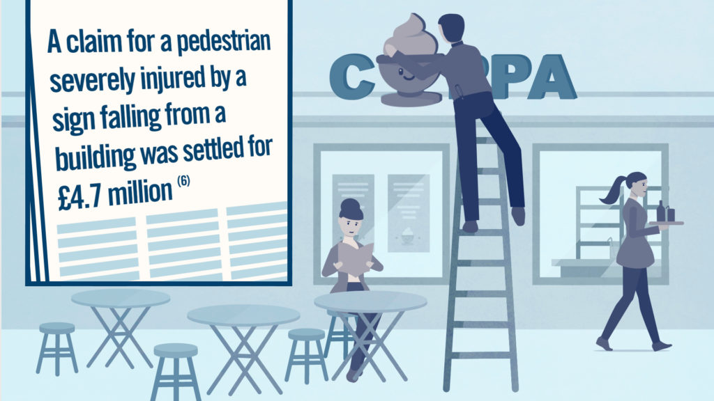 illustration of man on ladder fixing a cafe sign next to a few tables and a seated woman, a waitress carries drinks