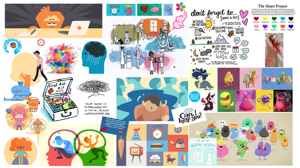 Mental Health Animation Reference Moodboard Clippings