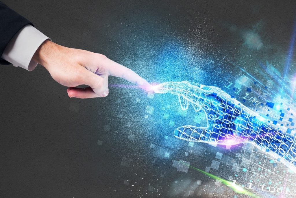 Power Of Technology Stock Image - human hand and digital hand with binary code texture touching each other by a fingertip, leonardo-da-vinci-like
