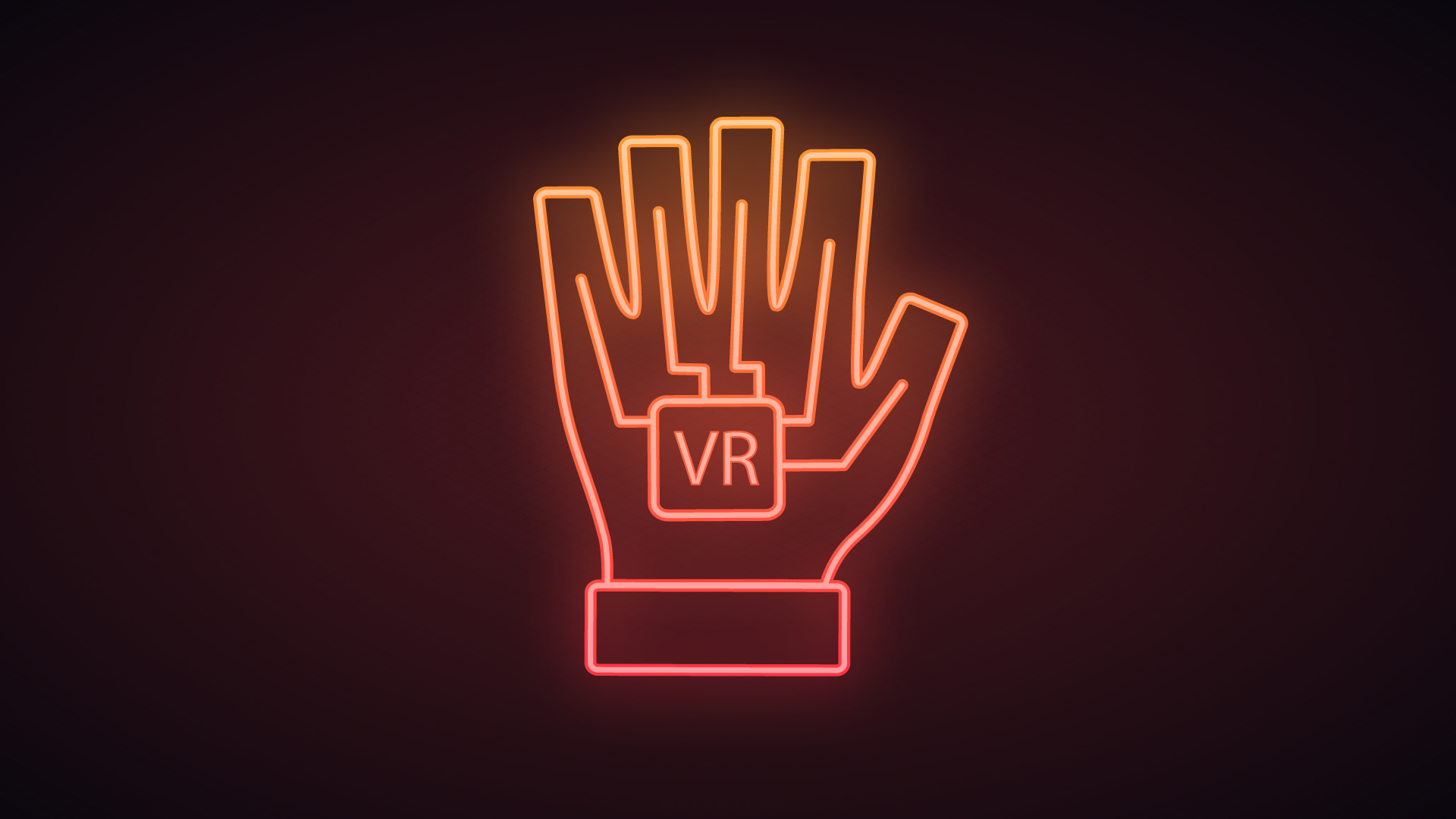 Glowing Haptic Glove With VR Written On It
