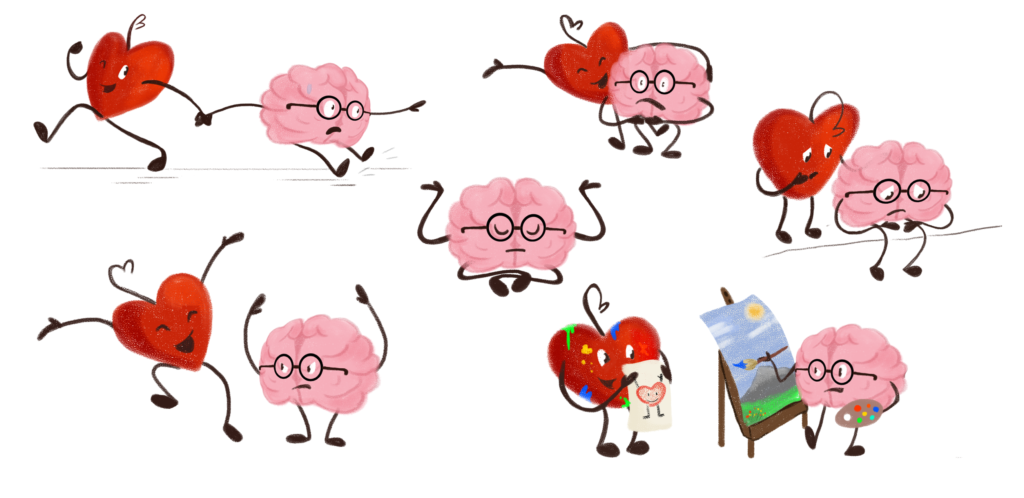 ^ Mental Health Animation Heart And Brain Character Expression Examples