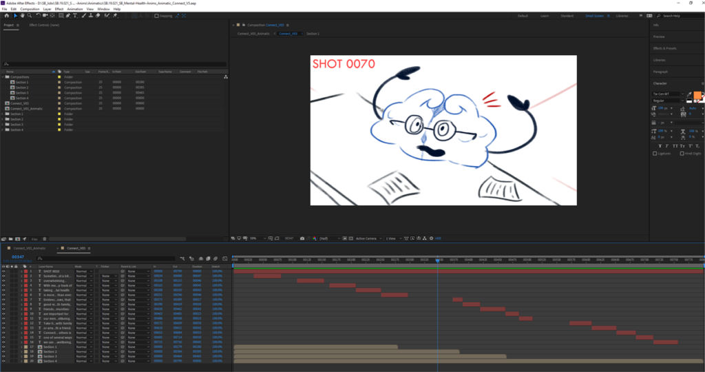 Mental Health Animation Storyboards After Effects Editing