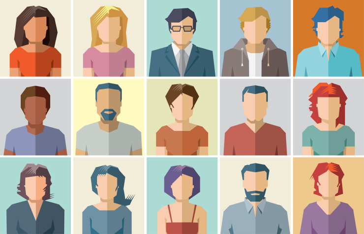 Application Persona Icons, 15 Illustrations of faceless different humans