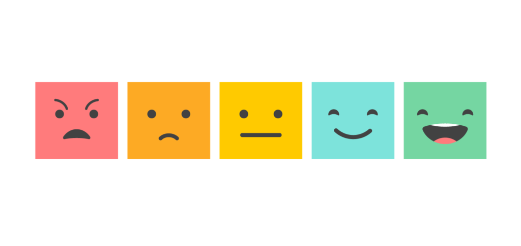 5 square emojis displaying emotions from angry to sad, normal, happy and laughing
