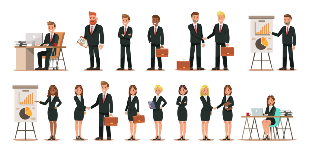 16 illustrated characters of office people, male and female with desks, briefcases, clipboards and flip charts