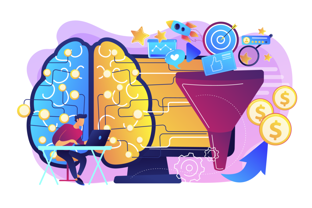 2d illustration with man working on his laptop, a brain, computer and a funnel into which various icons go and an arrow pointing to money