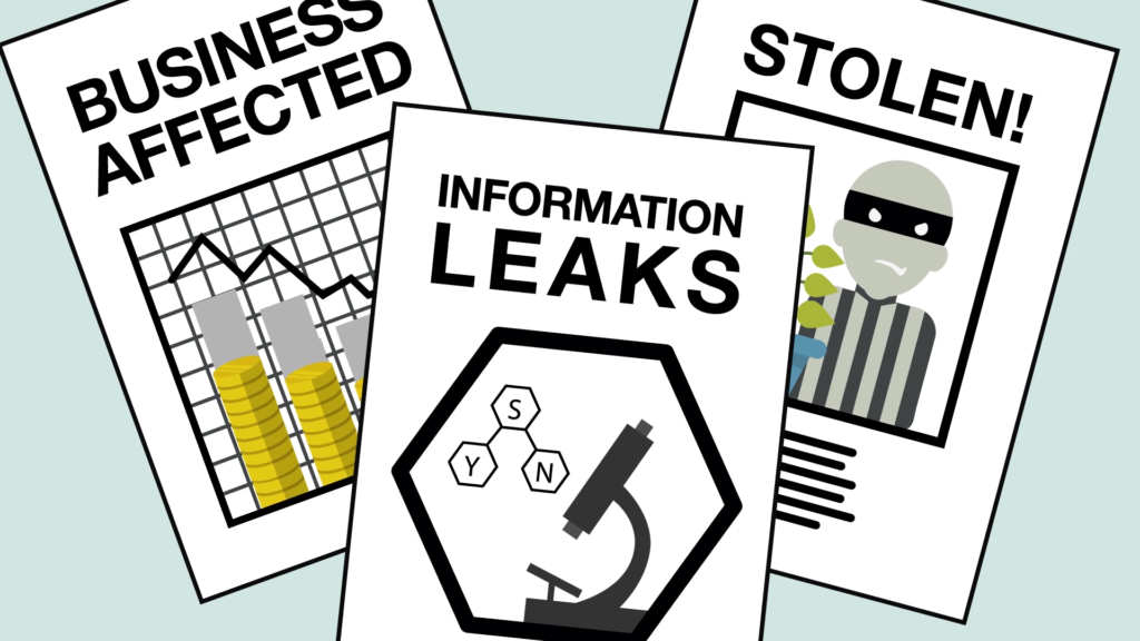 newspaper articles about stolen business secrets, information leaks and security breaches and business damages