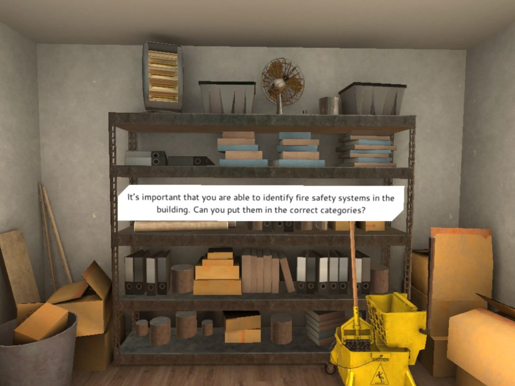 3d image of office storage shelves with piles of paper, boxes and folders, a heater, fan and mop and bucket
