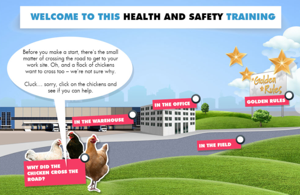 screenshot of health and safety training showing an office, a warehouse some chickens in a field and a billboard with golden rules