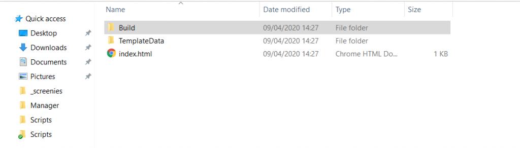 screen shot of folder set up for unity build