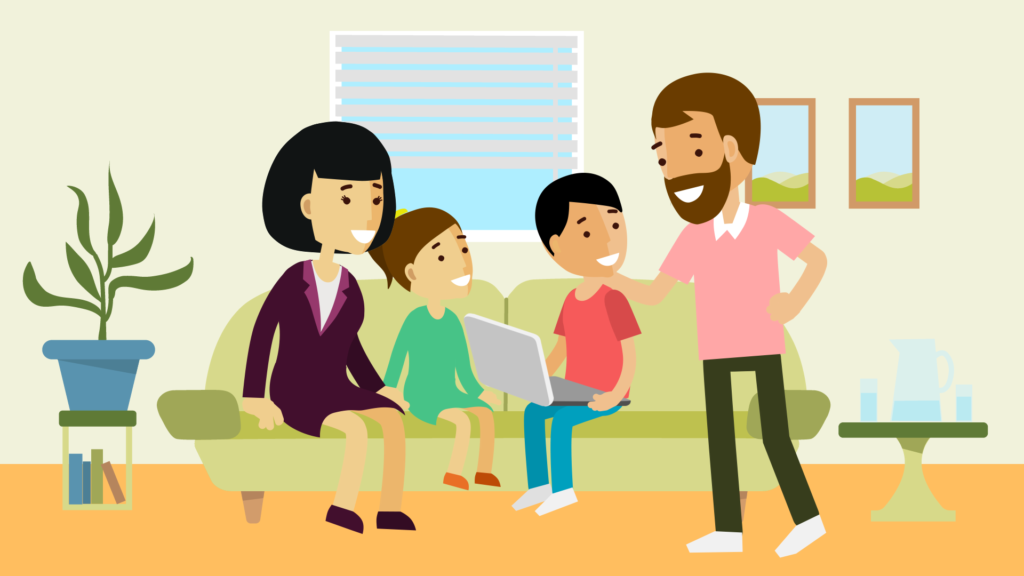 illustration of a family of four sat around a sofa with a lap top, dad is patting his son on the shoulder