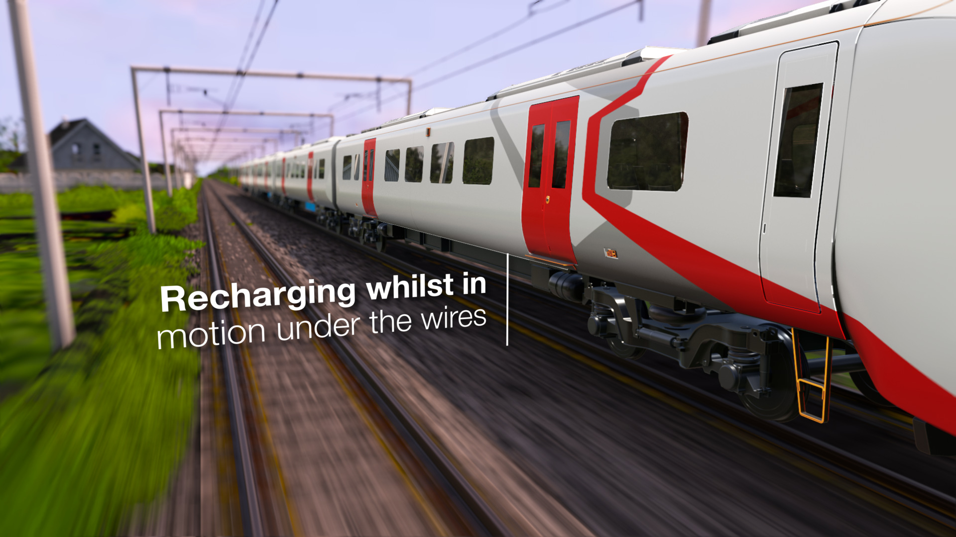 Battery powered train running under wire with graphics - recharging whilst in motion under the wires