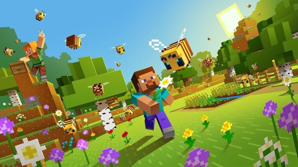 minecraft character running and chasing a bee in a garden, another minecraft character on top of a hill holding a potion, flowers with bees flying araound