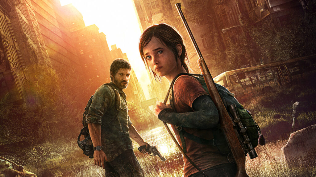 two characters from the last of us game standing in front of a sun lit city background carrying a gun and revolver, rucksack and gas mask