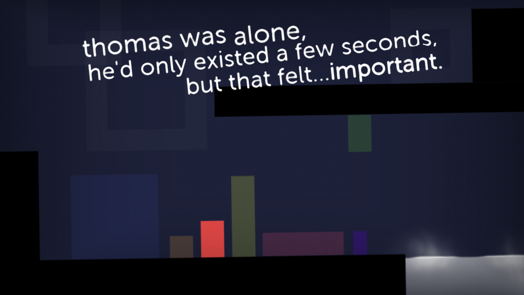 thomas was alone game quote relating to the story, simple abstract graphic with geometric shapes