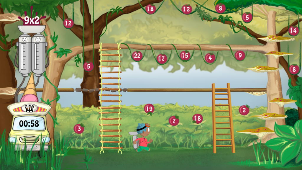 Illustration of the maths berry platform game design