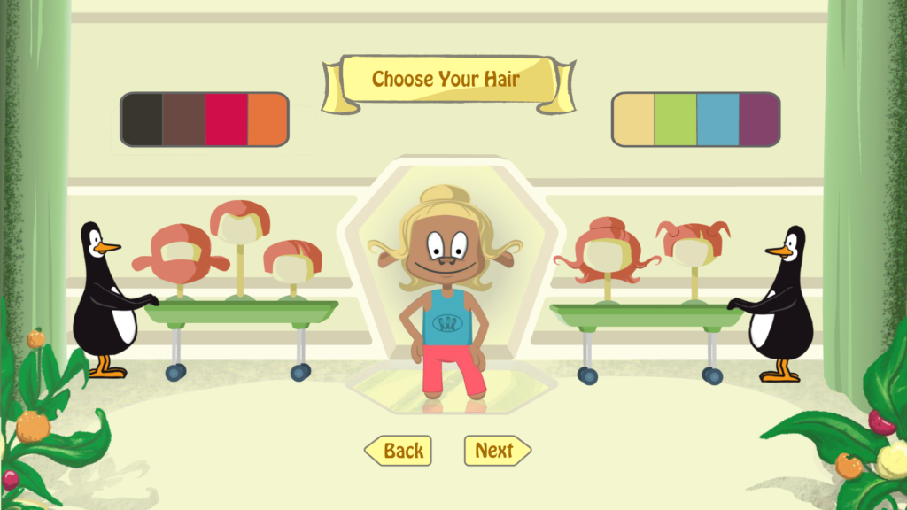 Shows interface for designing your own character hairstyles, character is centre to the screen with two penguins left and right holding trollies with wigs on them.