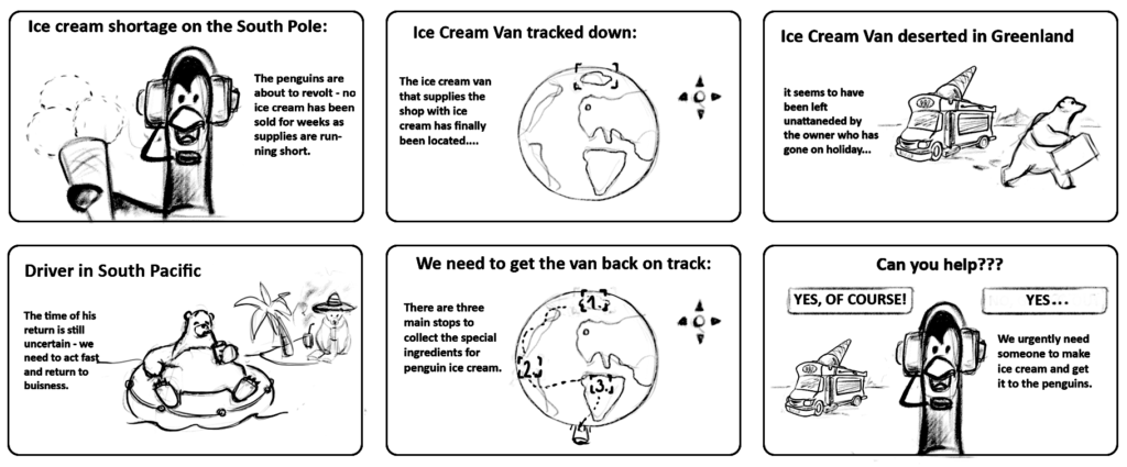 Six storyboard panels showing the story behind the Maths Berry Game