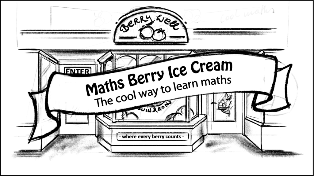 A old shop front with a banner over the top reading - Maths Berry Ice Cream Game