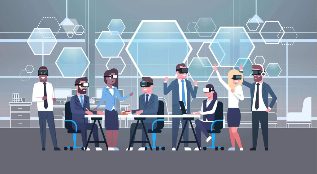 Cartoon illustration of a corporate team wearing virtual reality headsets