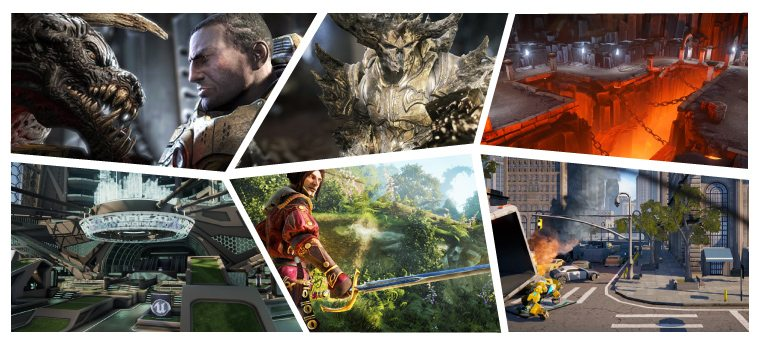 Six Thumbnail Images Of Unreal Games