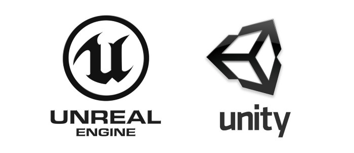 Visual representations of Unreal and Unity game engine logos