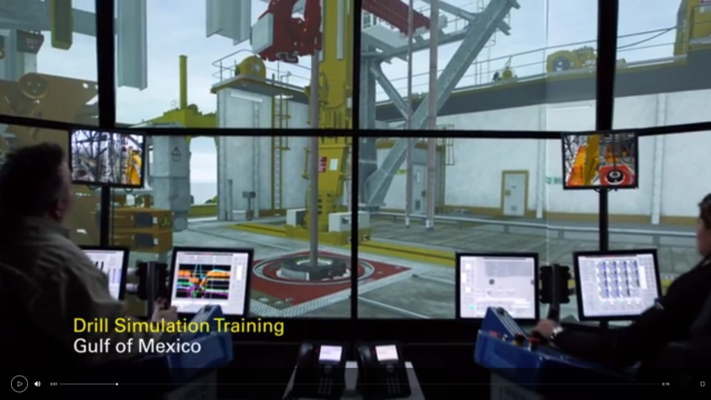 virtual reality drill simulation training using four screen panels