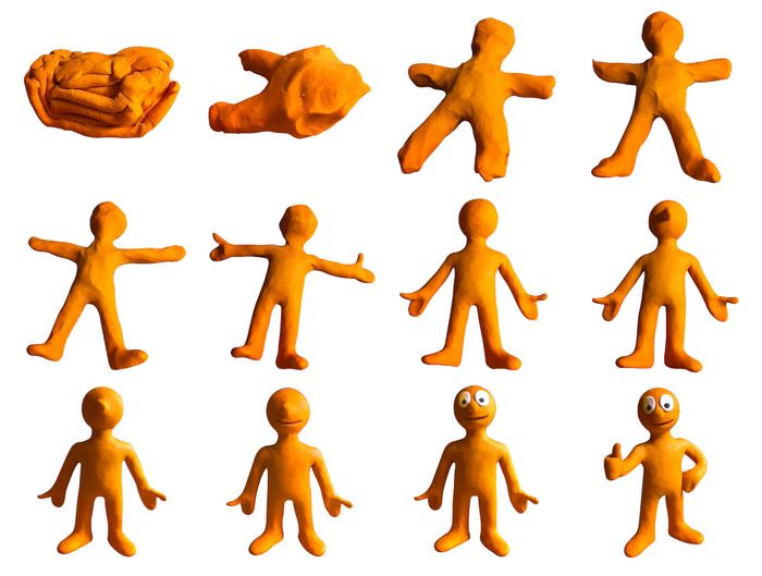12 stages of morph morphing from a single piece of plasticine