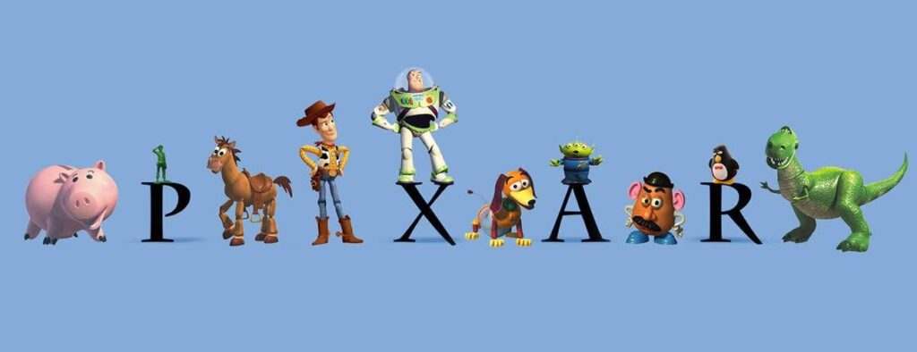 pixar animation logo with toy story characters